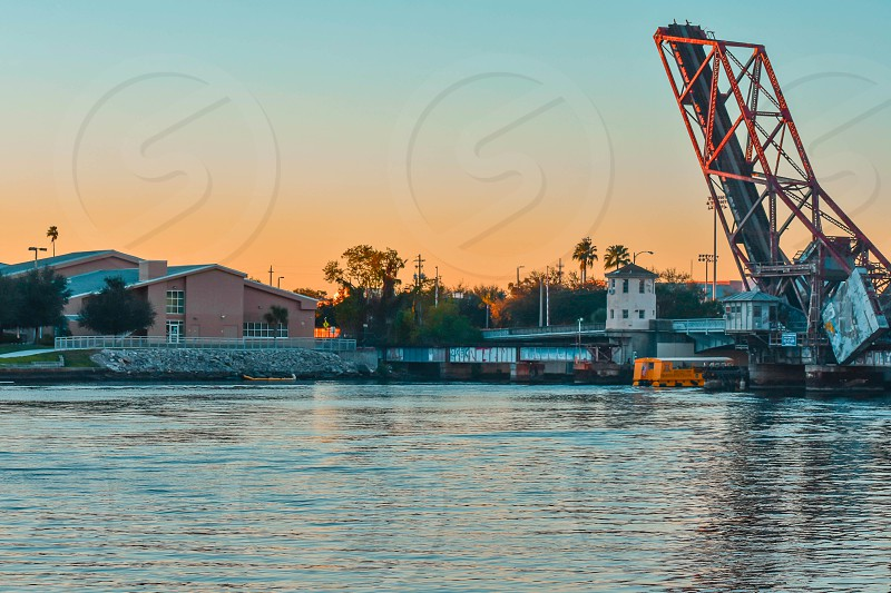 Tampa Bay Florida. January 05 2019 . Drawbridgre  in W Cass street on beautiful sunset background in downtown area (3) photo