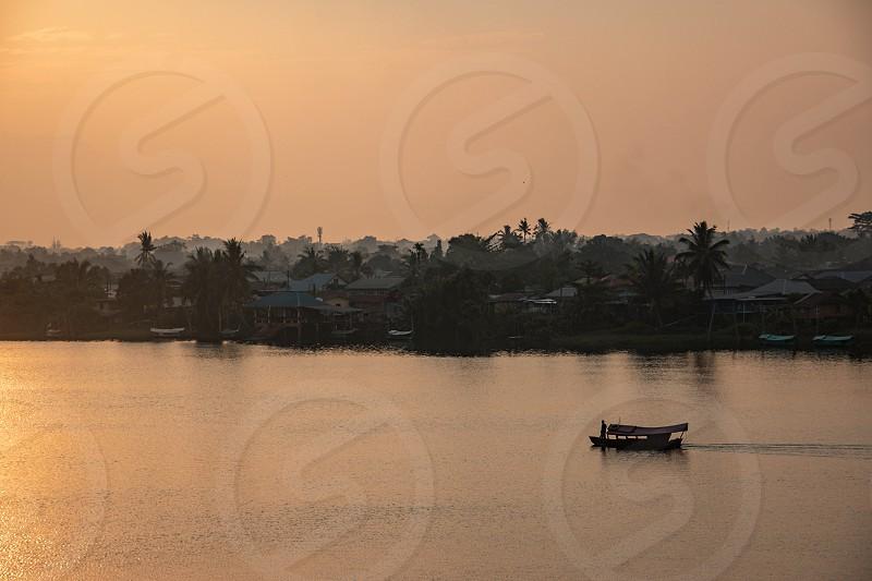 Sunset over the waterfront of Kuching Sarawak Malaysia. photo