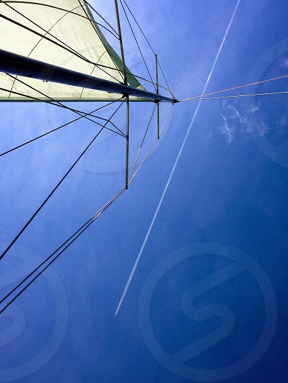 Sail Sky plane trail blue photo
