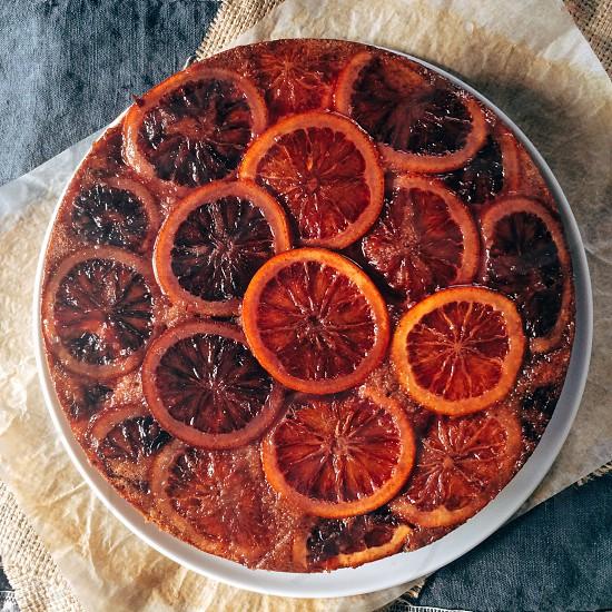 Blood orange  hazelnut polenta upside down  cake blood oranges oranges citrus food dessert fruit photo
