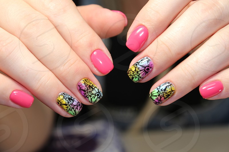 Bright colorful design of manicure photo
