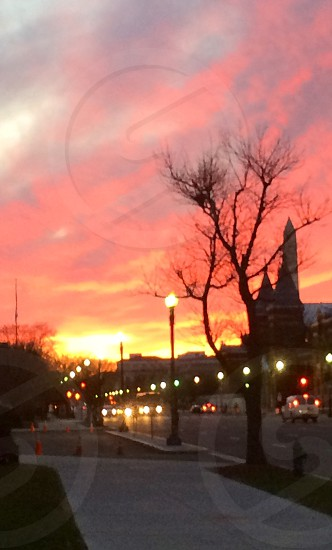 Walking in DC during sunset  photo