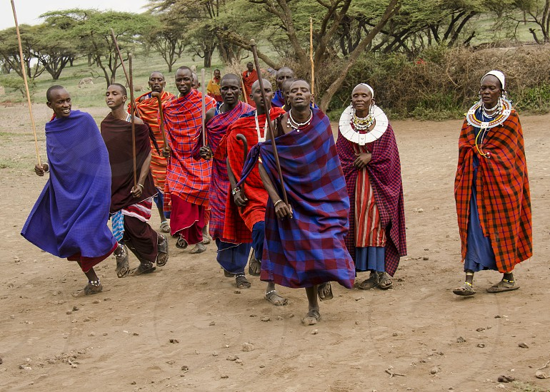 Maasai tribe warriors performing a dance of welcome. Tanzania photo