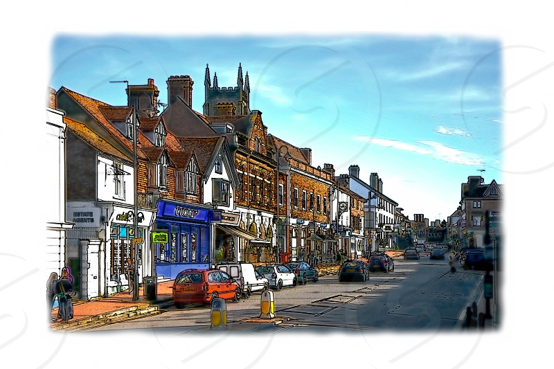 View of High Street Shops in East Grinstead photo