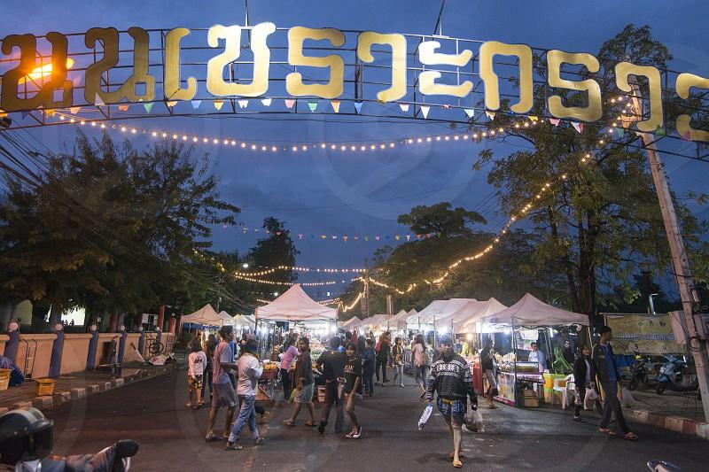 the Nightmarket and marketstreet in of the city Buri Ram in Isan in Northeast thailand.  Thailand Buriram November 2017 photo