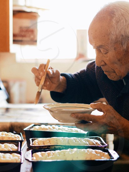 my grandpa 94 years young still baking bread every weekend.  photo