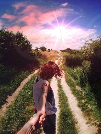 Hilly pathway. Path to the sun. Couple. Love.  photo