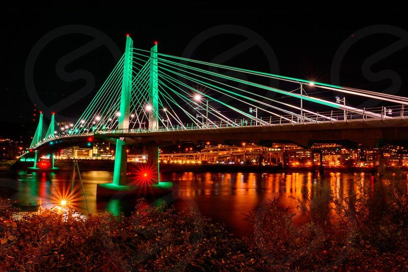 Tilikum Crossing at night Portland OR photo