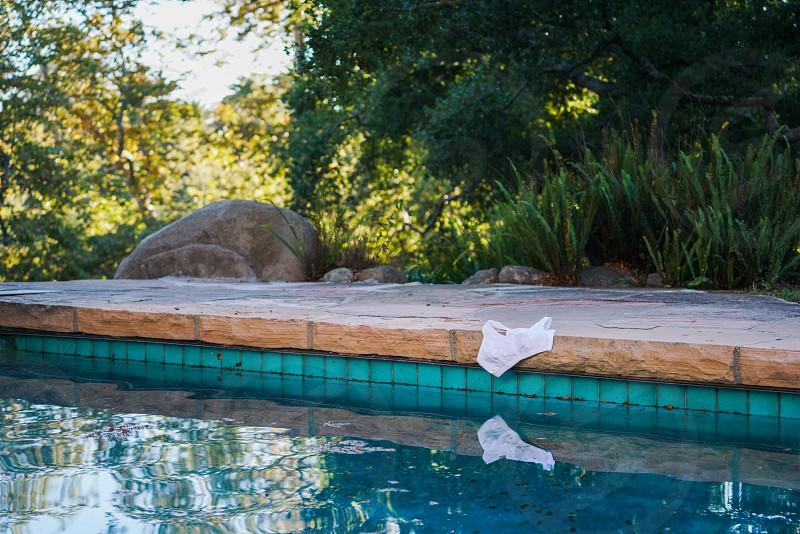 white bikini beside pool in garden photo
