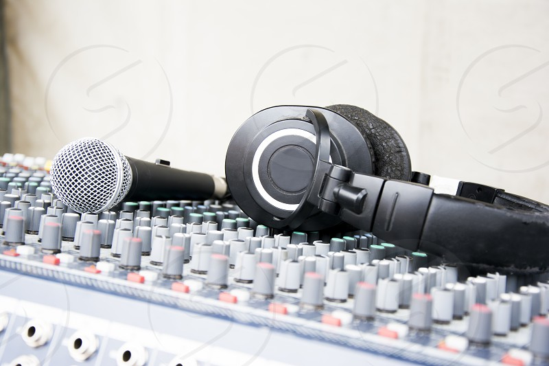 Headphones and microphone on console photo
