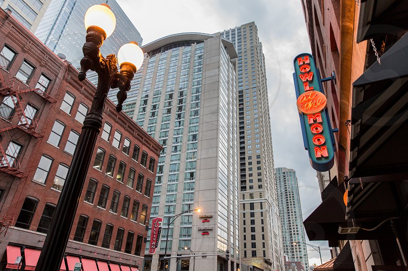 The River North neighborhood of Chicago is known for its many shops selling home furnishings (especially within the Merchandise Mart).  It also has tons of bars and restaurants that quickly fill once the office jobs let out.  The House of Blues is a famous music venue in the area located above the river-front restaurant Dick's Last Resort famous for their servers being comically brash and crude a real Chicago favorite experience for those who know what they're in for. photo