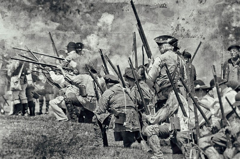 British provincial irregulars engage in a vicious firefight with French soldiers outside Fort Niagara in 1759. (Youngstown NY. 2014) photo