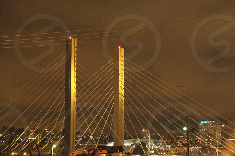 Tacoma Washington downtown night bridge clear photo