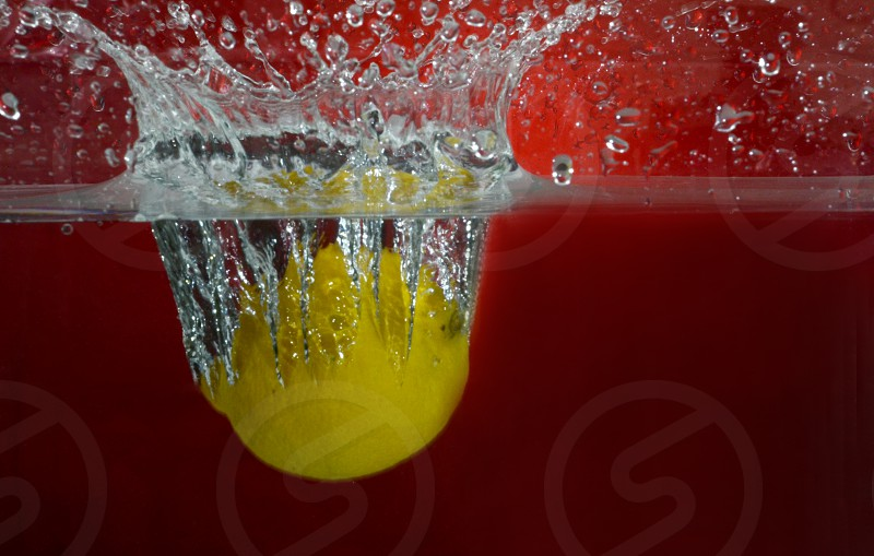 fruit lemon splash water red background frozen in time  photo