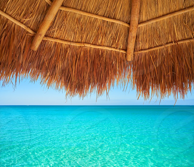 Caribbean beach sunroof in riviera Maya of Mayan Mexico photo