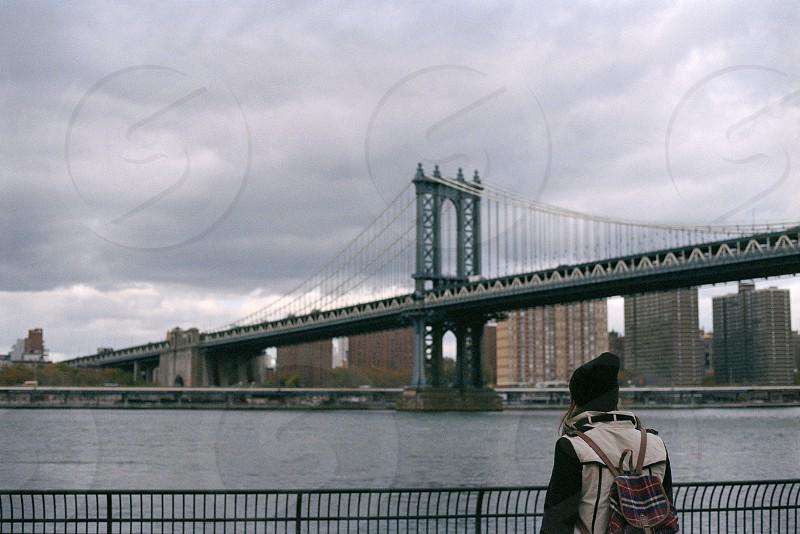 New York city cityscape bridge Brooklyn portrait  photo