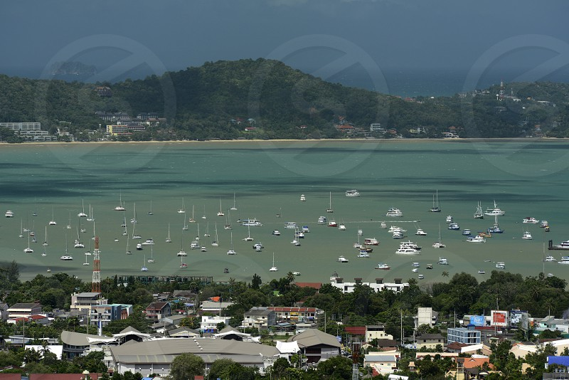 the view from the mountains to the village of  Chalong near the rawai beach on the Phuket Island in the south of Thailand in Southeastasia. photo