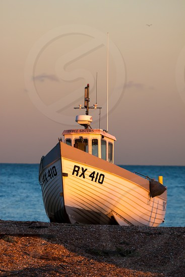 Fishing Boat on Dungeness beach photo