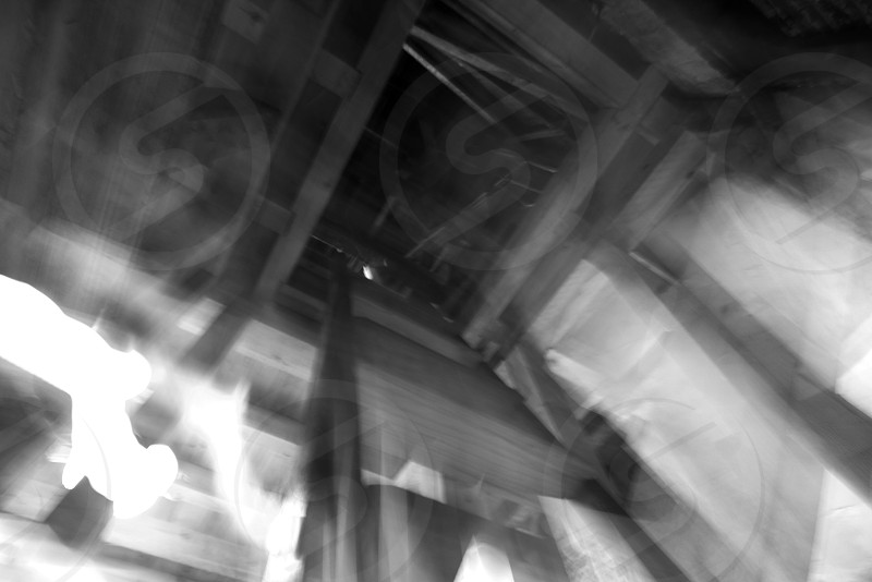 black and white shake wood stairs old from below abstract still life indoor interior mysterious  photo