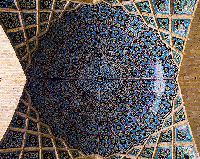 A cupola in Nasir al-Mulk Mosque Shiraz. photo