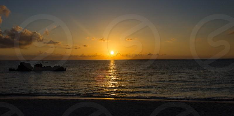 Beautiful Sunset at Araha Beach at Okinawa. photo