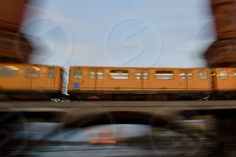 Berlin subway in motion over Oberbaum bridge with motion blurs. photo