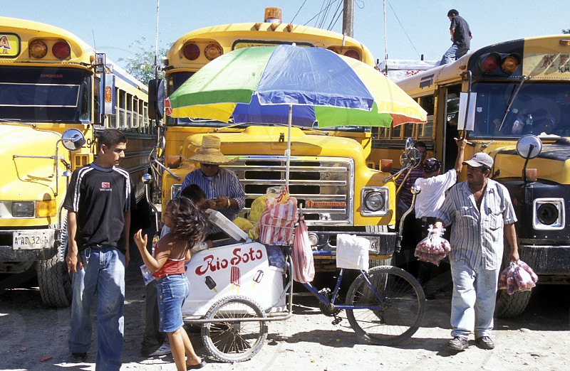 The Bus Terminal of the city of Tela near San Pedro Sula on the caribian sea in Honduras in Central America photo