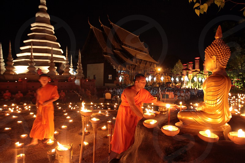 a buddhism ceremony at the Wat Phan Tao Tempel in the city of chiang mai in the north of Thailand in Southeastasia. 