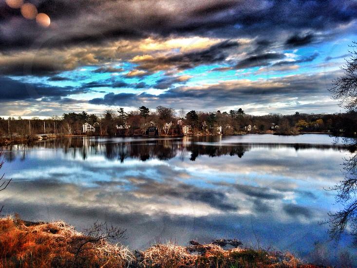 Landscape lake waterscape clouds photo