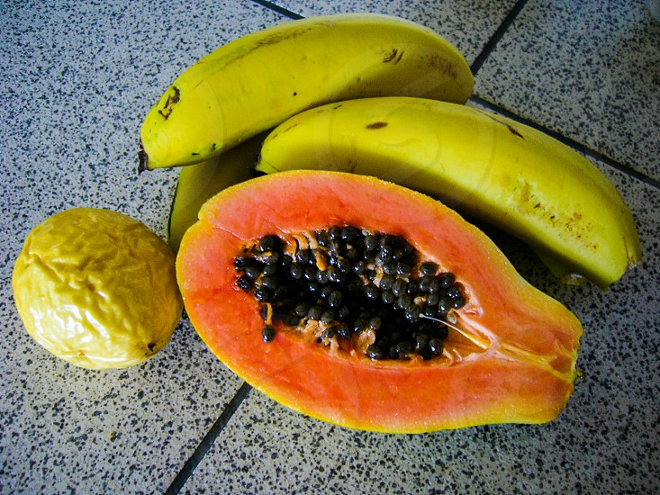 fruits banana papaya passion fruit photo