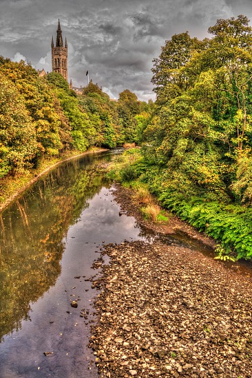 Glasgow university HDR river photo