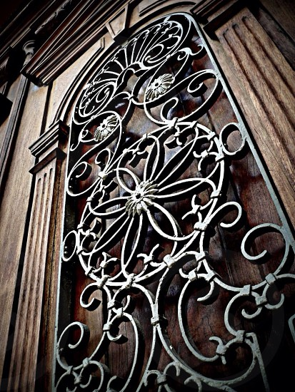 grey metal floral grills photo