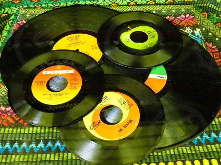 Vinyl records vintage music records photo