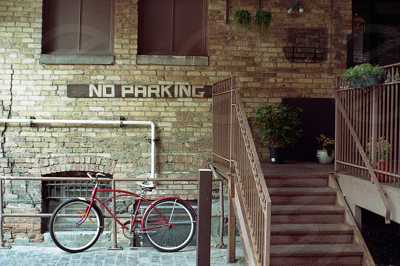 No Parking Milwaukee Wisconsin Bike Bicycle Film 35mm Old school Vintage Brick Stairs Alley photo