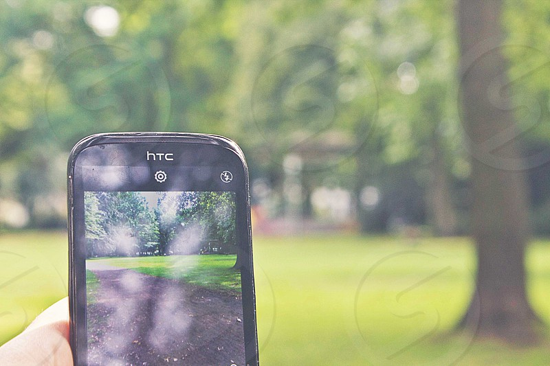 person holding black HTC Android smartphone taking picture of road between green grass field surrounded by green leaf trees photo