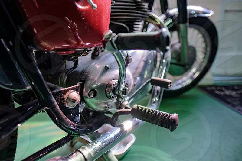 Old Royal Enfield Motorcycle in the Motor Museum at Bourton-on-the-Water photo