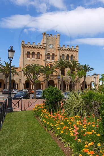 Ciutadella Menorca city Town Hall and gardens in Ciudadela at Balearic islands photo