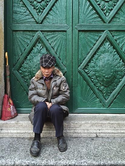 Old man in Senado Square Macau photo