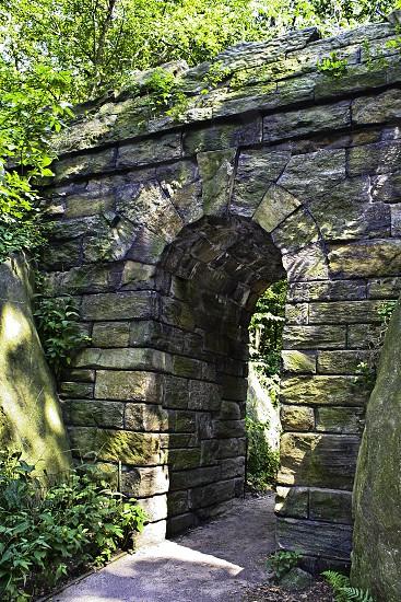 Archway garden stone path new york central park photo