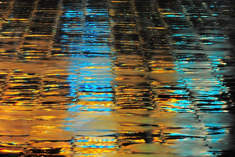 water on cobble stone street photo