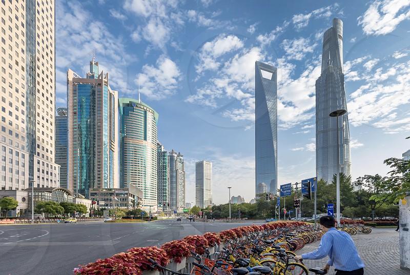 Shanghai World finance center architecture building skyscrapers  photo