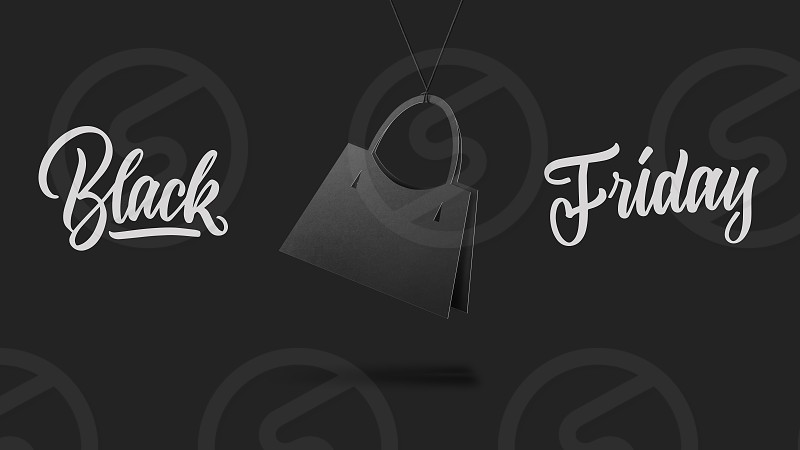label in shape womens handbag on high hill made of cardboard on a gray background.a Calligraphic text black Friday and sales luxury premium style concept photo