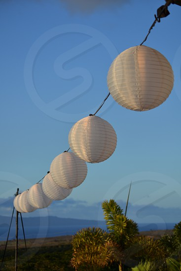 Chinese lantern wedding reception Maui dusk photo