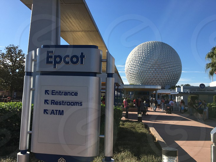 Epcot Entrance Restroom and ATM signage photo