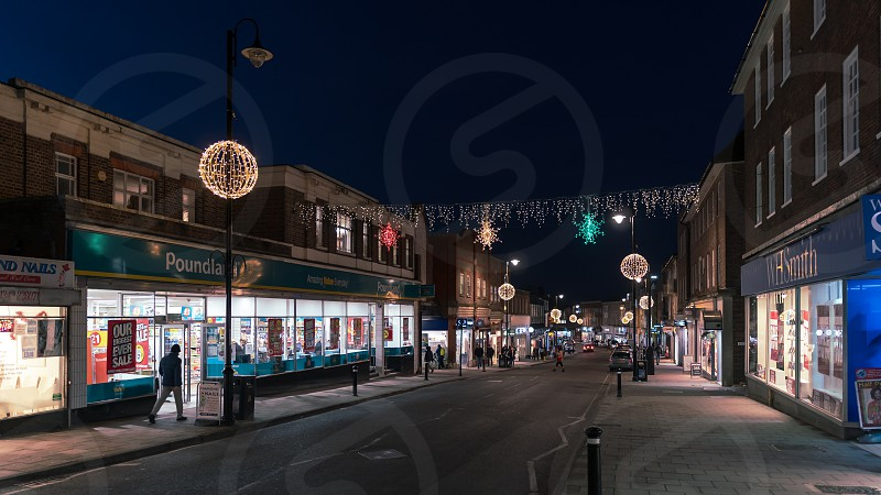 EAST GRINSTEAD WEST SUSSEX/UK - JANUARY 4  : View of the town centre at night in East Grinstead on January 4 2019. Unidentified people photo