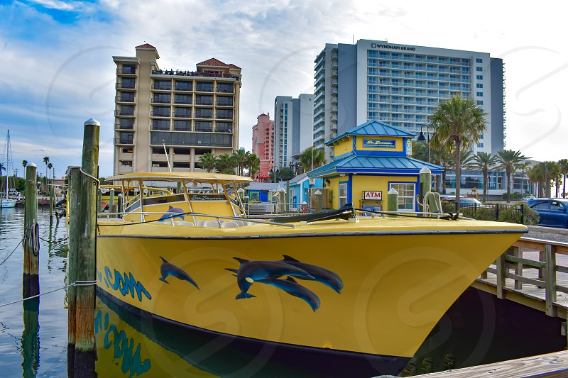Clearwater Beach Florida. January 25 2019 . Funny yellow cruise boat in Clearwater Marine and Beaches Hotel's in Gulf Coast Beaches. photo