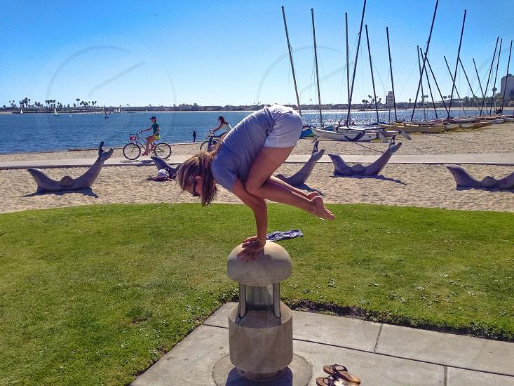 Yoga at Fanuel Street Park in San Diego CA photo