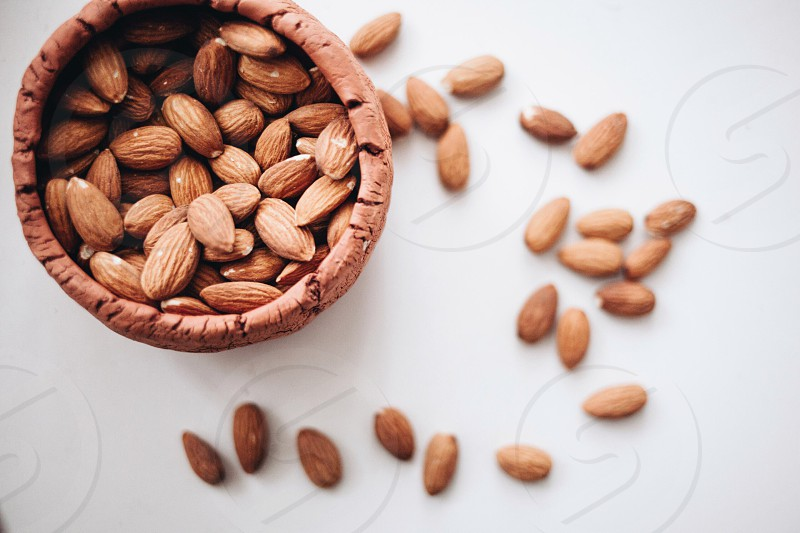 Snacking on almonds photo