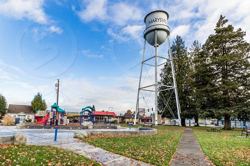 Water tower in park Marysville Washington Snohomish County photo