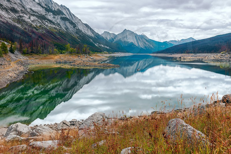 Medicine Lake in Jasper National Park. Alberta. Canada photo